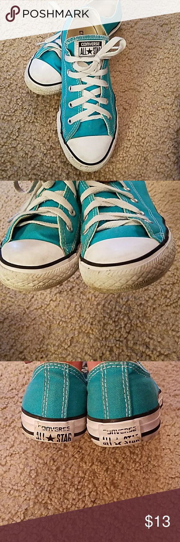Turquoise Converse Used but still have life. They need a nice scrub around the sole up top and laces washed but they definitely are still able to be worn. Converse Shoes Sneakers