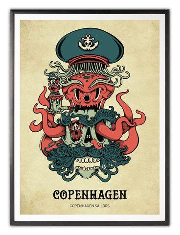 Copenhagen II – copenhagen poster 30x40 cm on 200 g silk paper. $40 Free shipping.