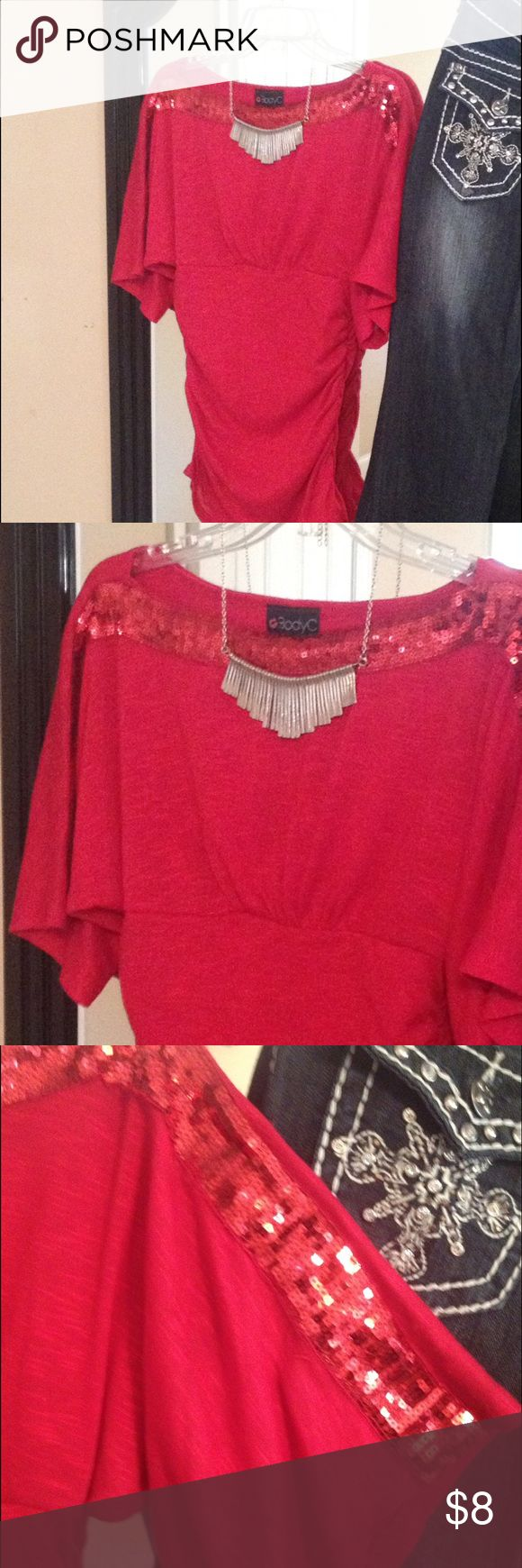 Body central top Red sparkle sleeves cotton form fitting, great for dressing up or down, worn maybe three times Body Central Tops Blouses