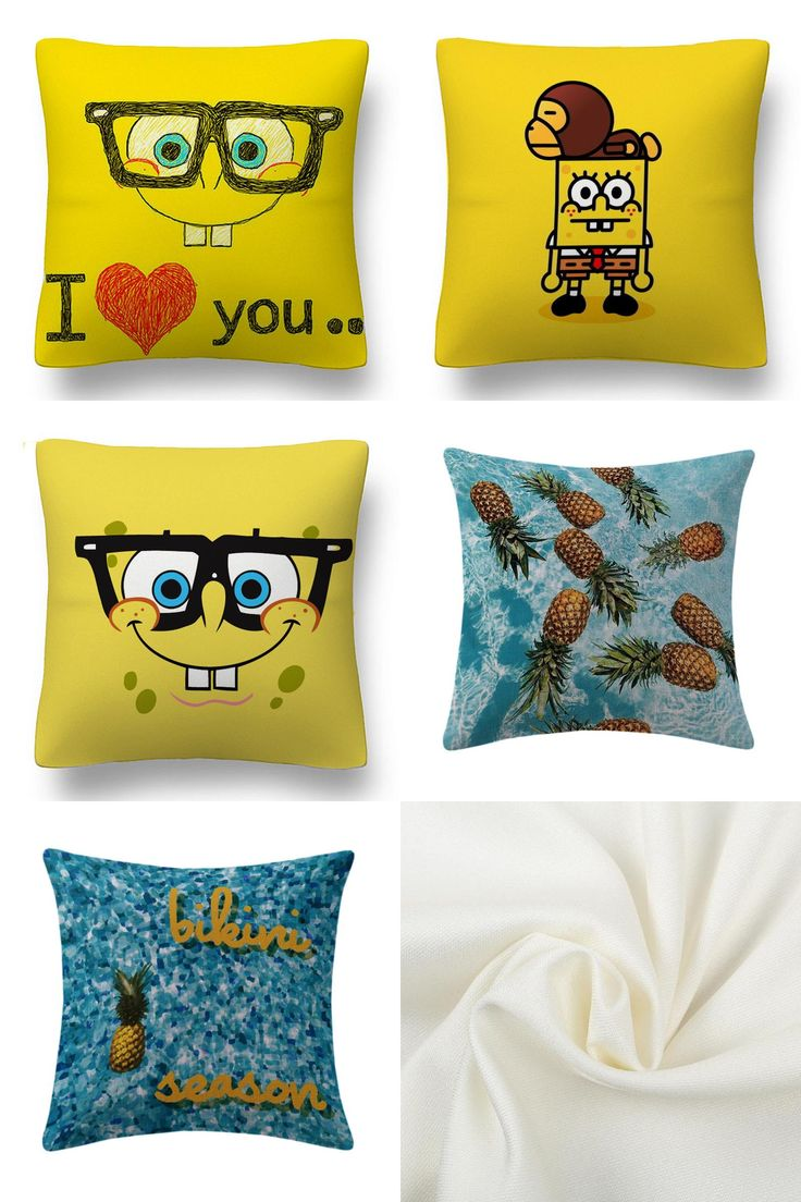 [Visit to Buy] Maiyubo Cold Fabric Polyester Pillow Cover SpongeBob Cheap Throw Cushion Pillow Mediterranean Style Decorative Pillow Case PC529 #Advertisement