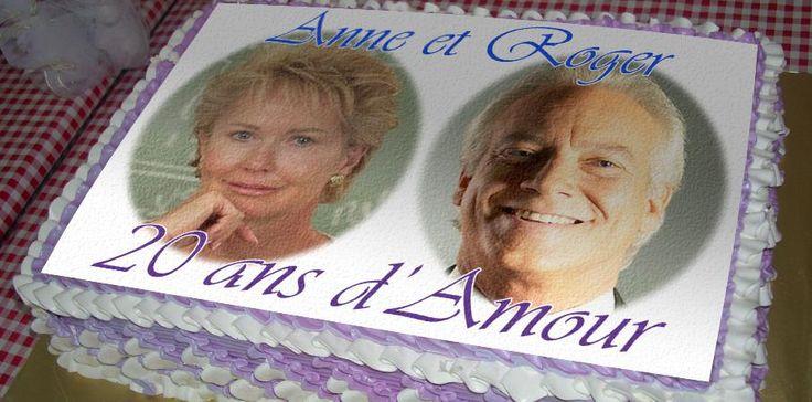 Photo romantic duo sur gâteau dés 9,90 € Idéal pour fêter un anniversaire de mariage.