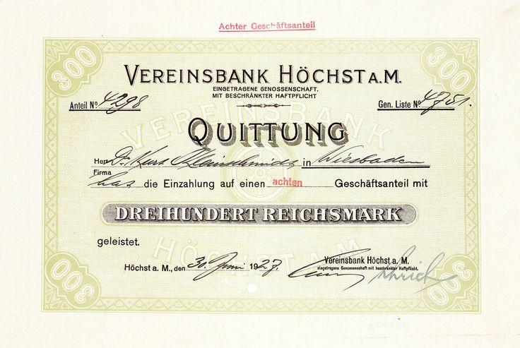 Vereinsbank Höchst a.M., Geschäftsanteil von 1927 + ÄUSSERST SELTEN!