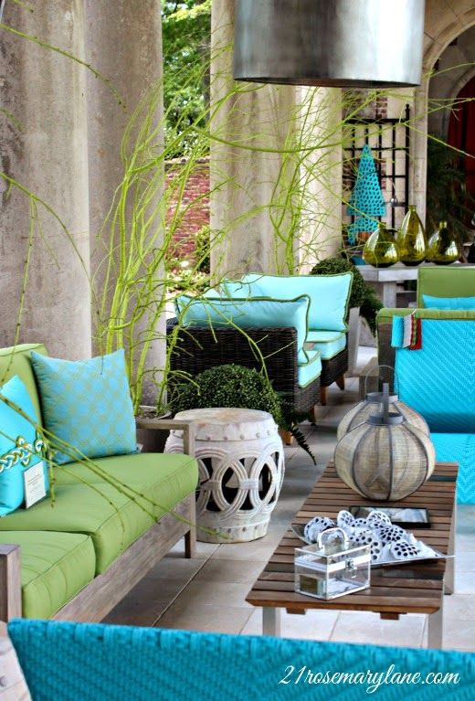 Great Porch Colors, agua/lime lanai /porch outdoor patio. tropical colors, pillows.