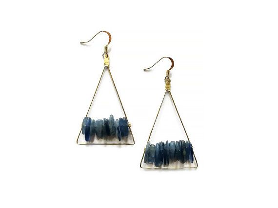 Kyanite Triangle Earrings, Blue Kyanite, Geometric Earrings, Blue Stone, Kyanite Earrings, Art Deco Jewelry, Statement Earrings, Boho Chic