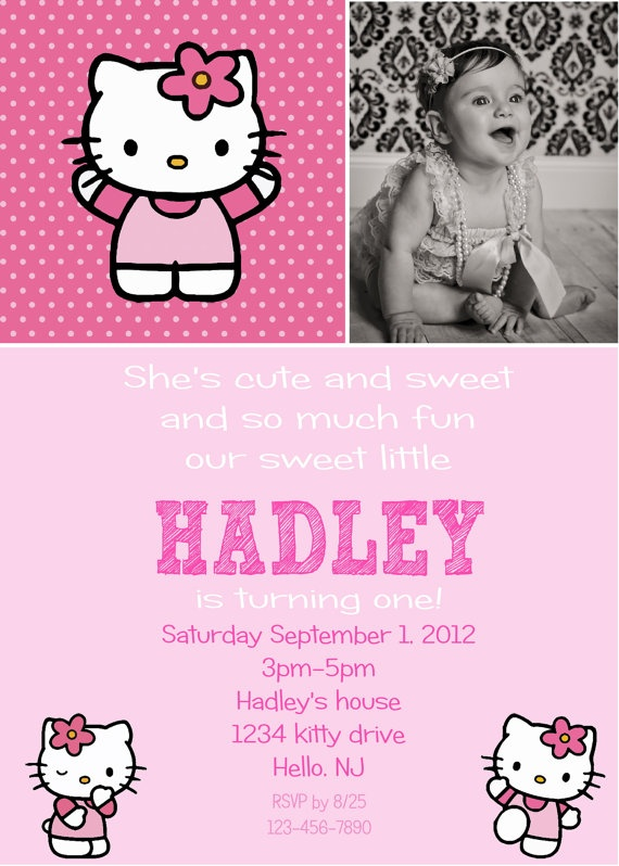 hello kitty birthday invitation print your by 800