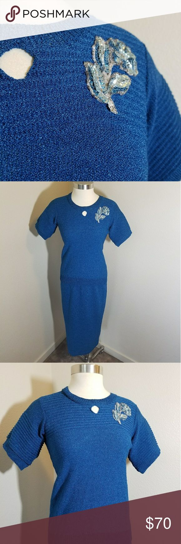 "Vintage knitted aquamarine sweater skirt set 50s M Amazing vintage keyhole embellished sweater with matching skirt. This set is in amazing vintage Condition. Such a beautiful aquamarine color. Waist has elastic that is still functional and the whole garment has some stretch to it. Definitely one of a kind, you won't find another like it. Perfect for everyday or for a fun vintage event.    30"" waist 28"" length of skirt 34"" bust  Rockabilly Rockabettie 50s 60s Knit Swing era Mid century modern…"