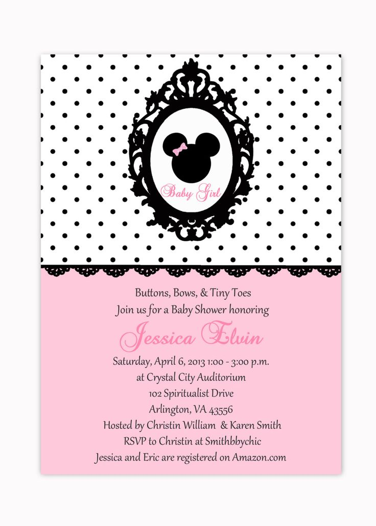 10 best Minnie Mouse Baby Shower Invitations Walmart images on - baby shower invitation letter