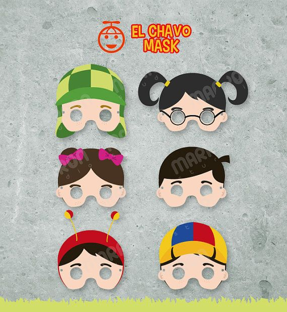 El Chavo del ocho Inspired set  Masks, Chaves, Chapulin, Chilindrina Chiquinha, Quico, Popis, Ñoño, Printable birthday, Instant Digital File on Etsy, $8.99