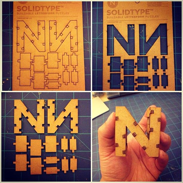 DIY SolidType -- These 3D letters have been designed and put into production by Denver based studio, MATTER. The self assembly type can then be painted, inked or etched to build words for signage or decoration.