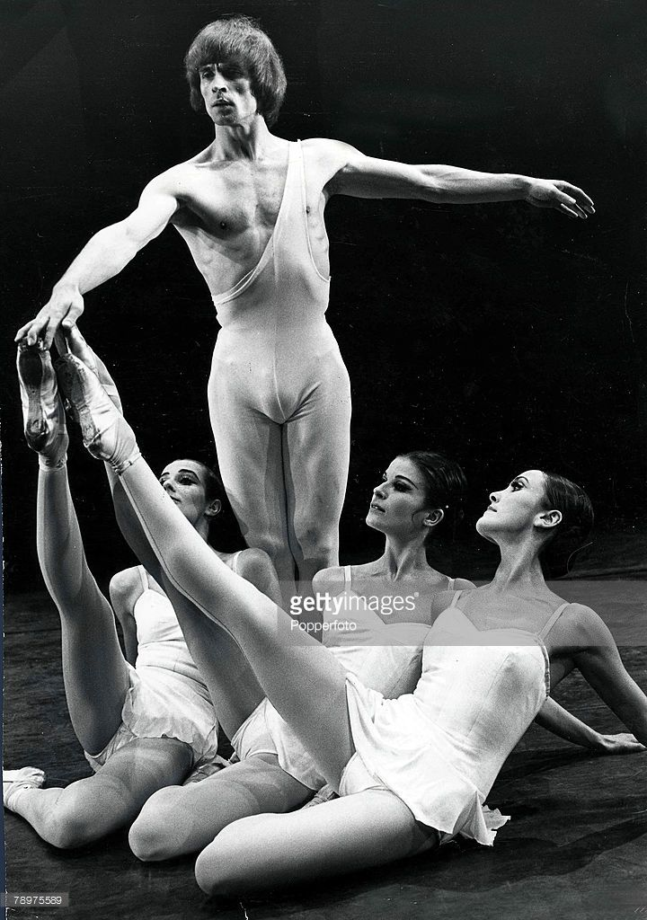 London, England, 2nd December, 1969, World famous ballet dancer Rudolph Nureyev rehearsing with ballerinas for 'Apollom Musagete' at the Sadler Wells Theatre in London