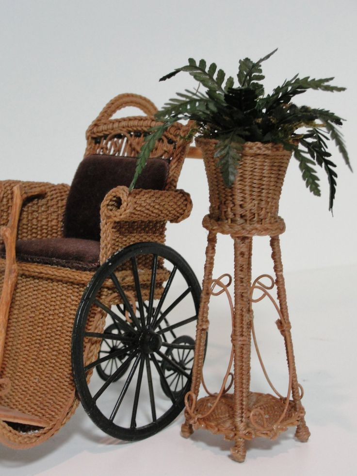 """Miniature Wicker Fern Plant Stand for Dollhouses 1"""" scale... 80.00, via Etsy."""