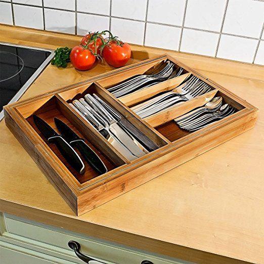 Relaxdays Besteckkasten verstellbar H x B x T: ca. 5 x 48 x 46 cm Schubladeneinsatz aus Bambus mit 5 bis 7 Fächern als Besteckeinsatz und Küchenorganizer große Besteckeinlage für die Schublade, natur: Amazon.de: Küche & Haushalt