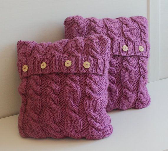 Cable pillow cover knit pillow cover lilac decorative by CreamKnit