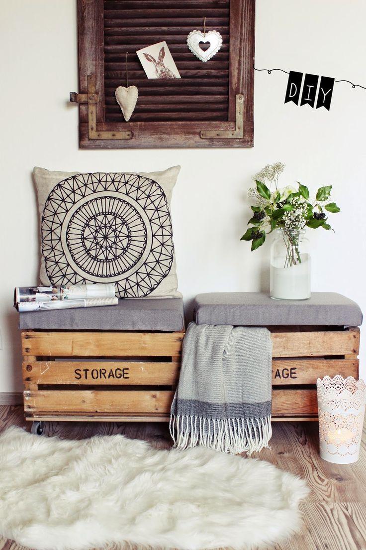 {DIY} Sitztruhe aus alten Holzkisten