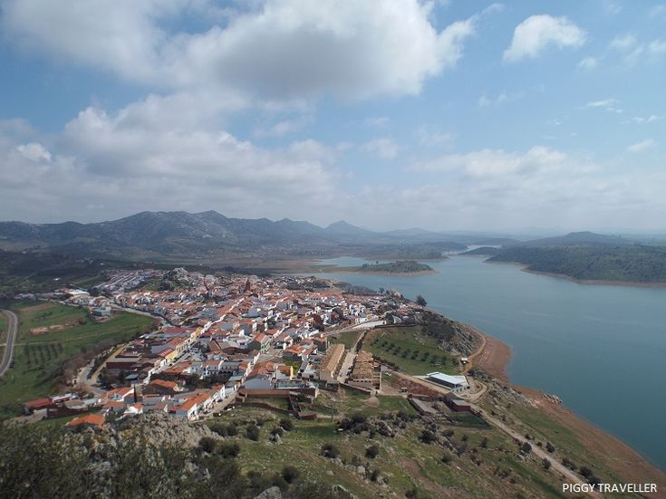 Views of Alange and its reservoir from the viewpoint on the way up to the castle. Read blog: http://www.piggytraveller.com/blog/extremadura-castles-castillo-de-alange/