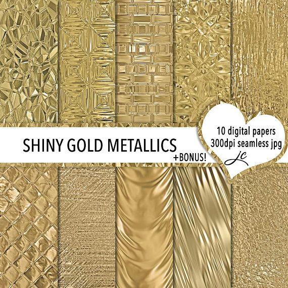 Shiny Gold Metallics Digital Papers  BONUS Photoshop Pattern