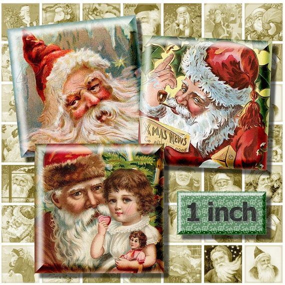 Vintage Santa Portraits, Digital Collage Sheet, 1 inch Squares, Printable Old Christmas Images, Santa Printables, Instant Download, DigiBugs