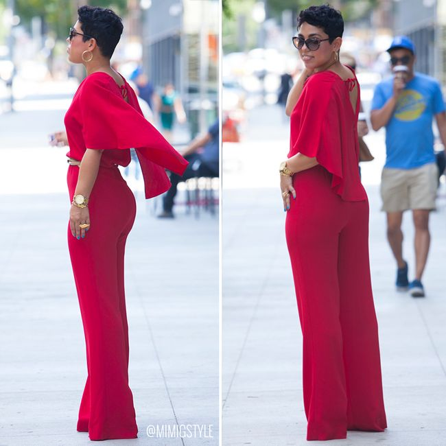 bd2bbeee74c Red Cape Jumpsuit With V-Neck