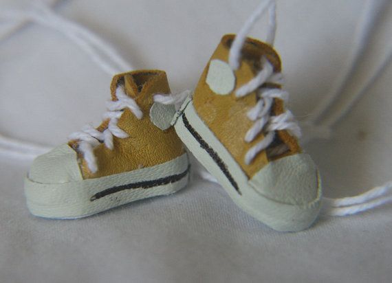 Miniature Ladies High Top Sneakers  yellow by MinisByTwinmum