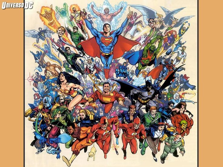 Dc comics murals wallpapers dc comics universo dc 01 for Comic book wallpaper mural