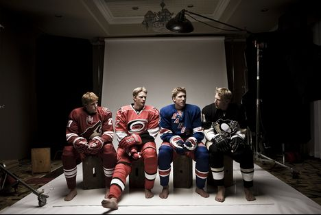 The Staal boys taking yet another family photo: Jared, Eric, Marc, Jordan