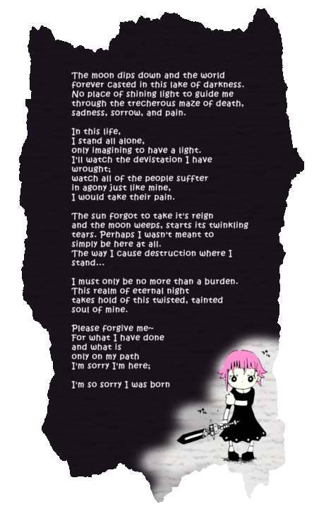 So that's why everyone who read Crona's poem went into the Emo Corner... I'm gonna go give Crona a hug and cry...