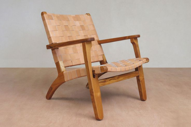 Mid Century Modern Handwoven Arm Chair Lounger seen here in our Saddle Leather hand woven seat. Features a solid Teak (tropical hardwood) frame. The handwoven s