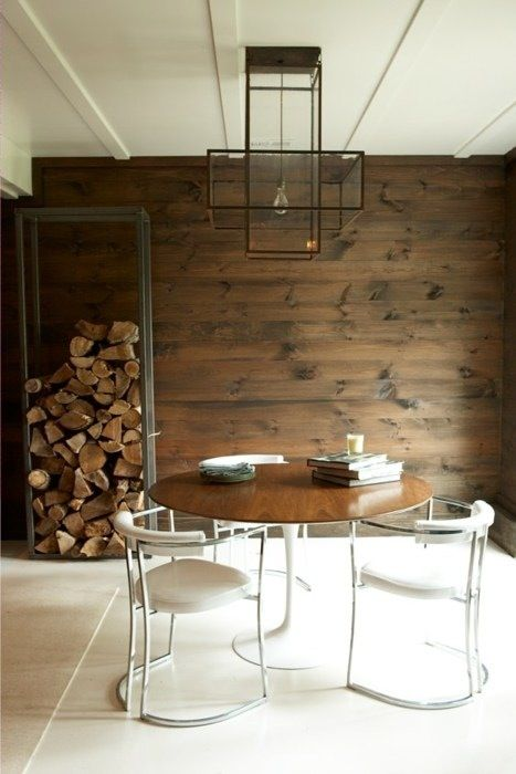 .Dining Rooms, Lights Fixtures, Interiors, Rustic Chic, Reclaimed Wood Walls, Rustic Modern, Design, Firewood Storage, Accent Wall