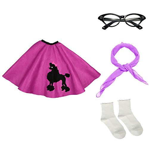 50s Girls Costume Accessory Set - Poodle Skirt, Chiffon Scarf, Cat Eye Glasses,Bobby Socks,Purple - Package include: 1 x Poodle Skirt; 1 x 50's Chiffon Scarf; 1 x Cat Eye Glasses; 1 x Bobby Socks Great for school plays, sock hops, Halloween, 50's Party, and more