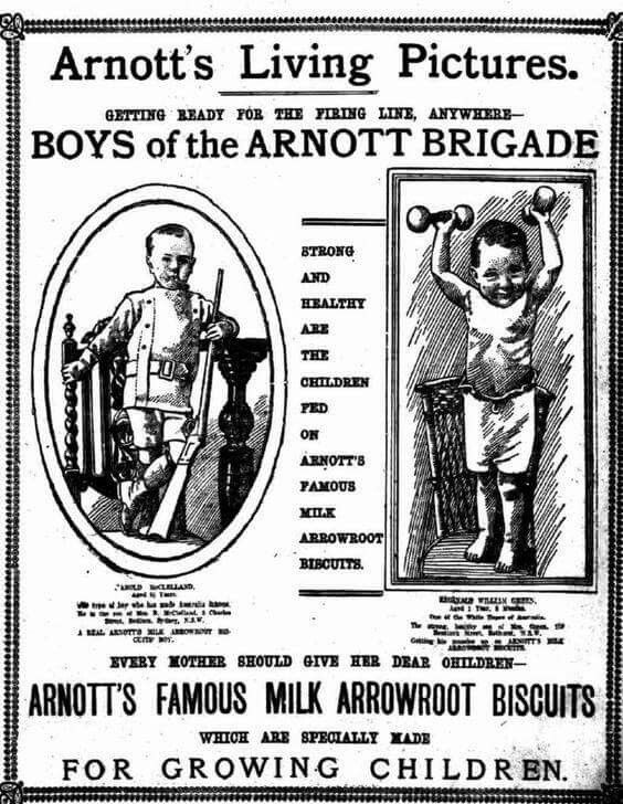 Arnott's Arrowroot biscuits  advertisement ~ Australia 1917.