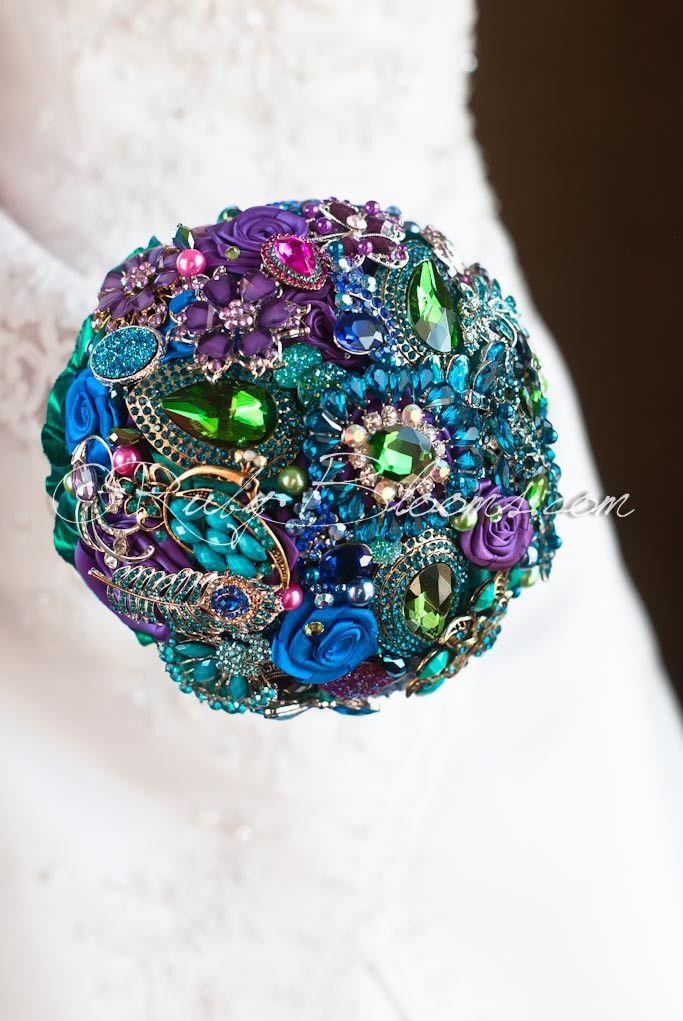 Tales of Maharajah jeweled peacock wedding brooch bouquet