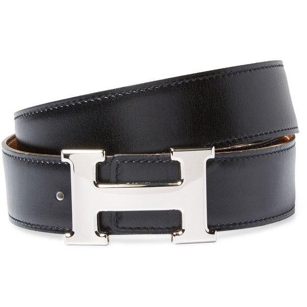 Hermès Women's Vintage Black Leather Constance Belt - Black (12.671.095 IDR) ❤ liked on Polyvore featuring accessories, belts, black, vintage belt, hermès, genuine leather belt, 100 leather belt and real leather belts
