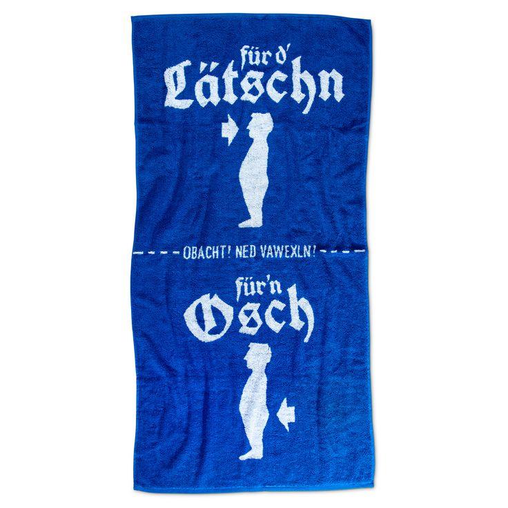 """Noch nie war Körperhygiene einfacher als mit unserem  Duschtuch """"Lätschn & Osch"""" . In das Duschtuch sind die einzelnen Trockungszonen eingewebt.  Ein echt witziges Geschenk für alle Bayern  aber auch Zuagroaste. Sehr hochwertig..."""