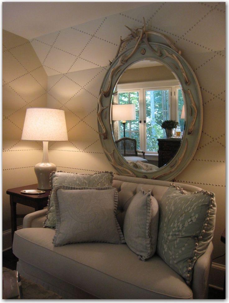 Nailhead trim design on walls.: Design Inspiration, Mondays Houses, Decor Ideas, Living Rooms, Design Ideas, Atlanta Showhous, Large Mirror, Mirror Ideas, Upholstery Nails