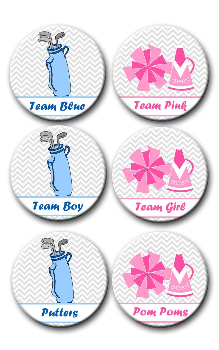 Putters or Pom Poms  Golf Theme Gender Reveal Party Favors 2.25 inch Pinback Buttons pin badges Team Boy Team Girl pink blue by PutOnYourPartyCap on Etsy