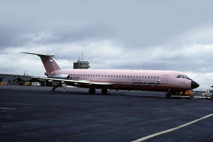 G-AXMF BAC 1-11 518EG 'Halcyon Breeze' Court Line is seen on the ramp at Luton Airport on July 31st 1974. Photo by emdjt42