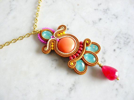 Soutache pendant, Handmade pendant, Hand Embroidered, Soutache Jewelry, Handmade…