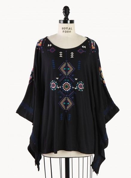 Trendy Plus Size Bohemian Clothing - Eva Poncho By Michelle Young  by choicesplussize.com