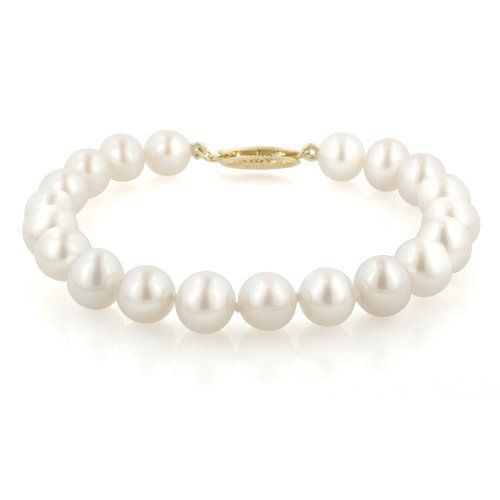 "14k Yellow Gold  White Freshwater Cultured Pearl AA Grade 7.5-8mm Bracelet, 7.25"" Amazon Curated Collection. $86.00. Save 66% Off!"