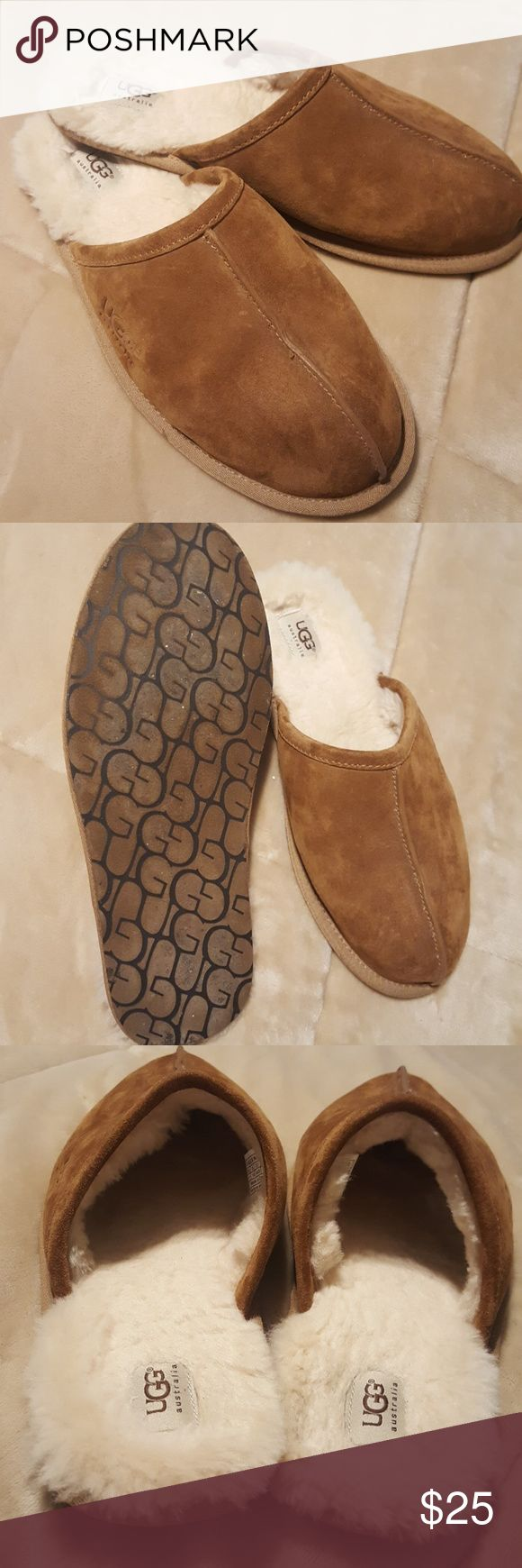 Men's UGG Australia slippers Almost perfect condition...only worn maybe twice around the house. My husband just isn't much of a slipper type person. Genuine leather lining and outsole with soft genuine sheepskin inside UGG Shoes Loafers & Slip-Ons