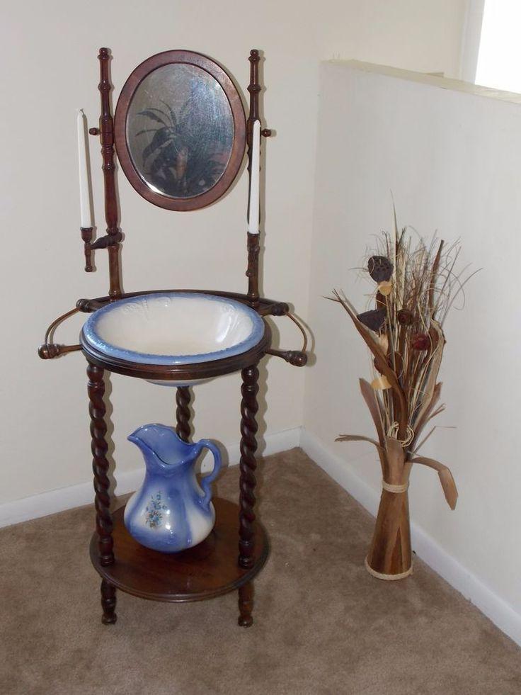 Antique Vintage Wash Basin Stand With Mirror Wash Basin