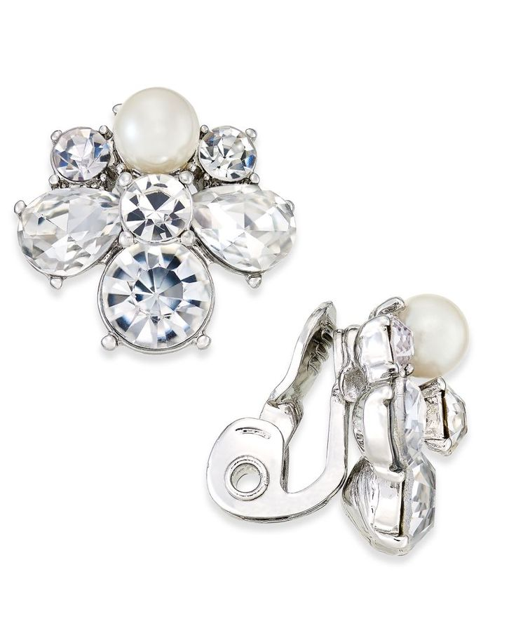 Charter Club Silver-Tone Crystal & Imitation Pearl Clip-On Cluster Stud Earrings, Only at Macy's