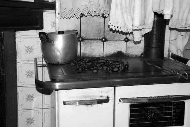 Cucina modera, per cuocere le castagne, e asciugare la biancheria di pizzo.