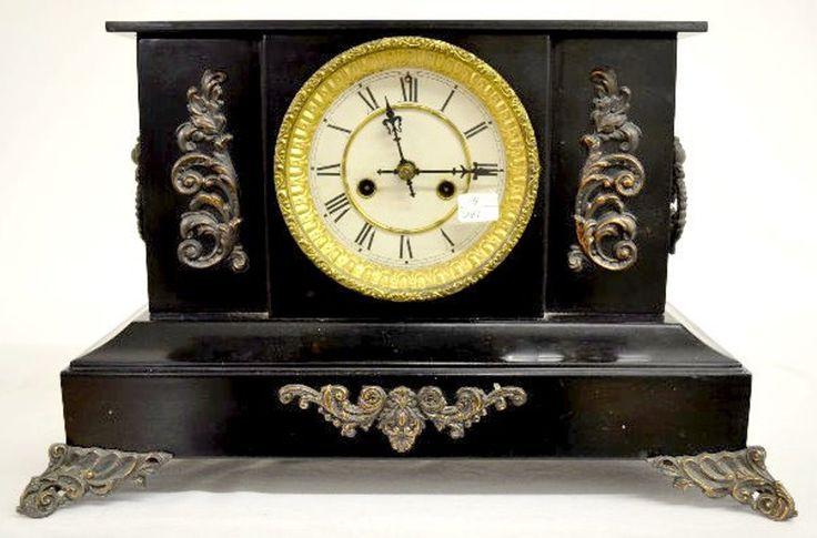 Waterbury Iron Case Enameled Mantel Clock