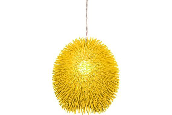 Playful and kinetic, the Urchin pendant light in un-mellow yellow by Varaluz is the ultimate contemporary statement piece.