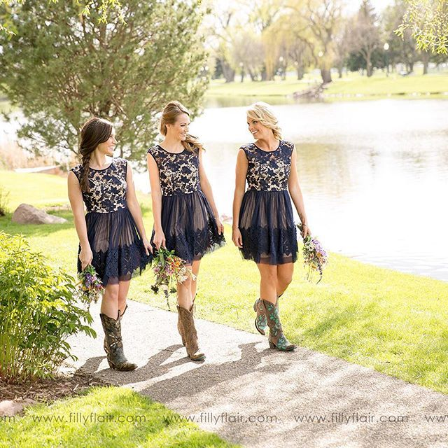 Planning a country wedding? Our 'Audrey Lace Bridesmaid Dress' is the PERFECT fit and pairs great with boots! Tag a friend who you know would love this dress! || link in bio ||