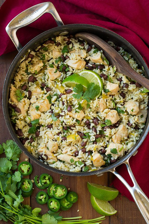 One Pan Cilantro-Lime Chicken and Rice with Black Beans