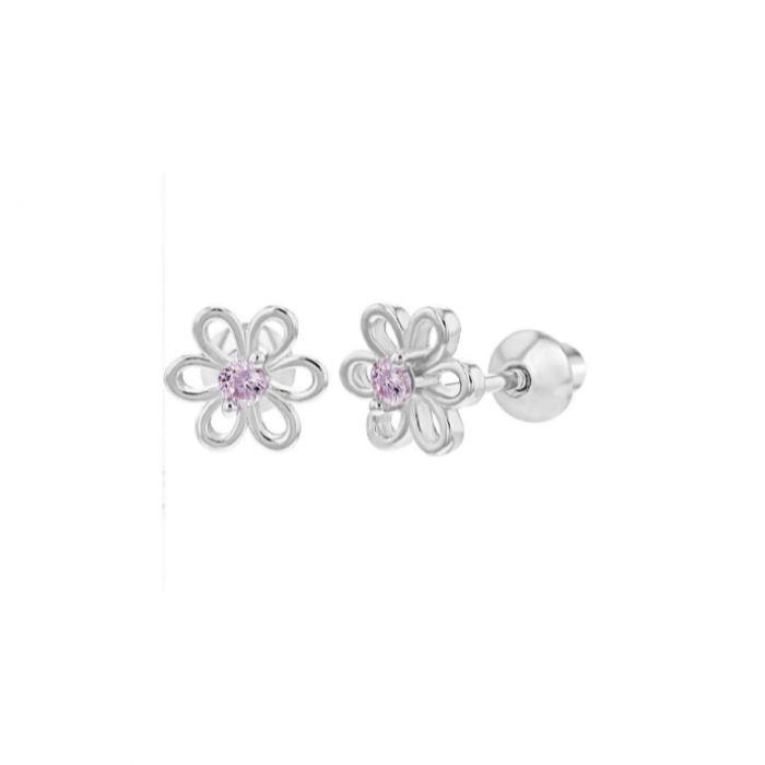 Baby and Children's Earrings:  Sterling Silver Pink CZ Flower Screw Back Earrings.  New sterling silver children's screw back earrings from Baby Jewels.