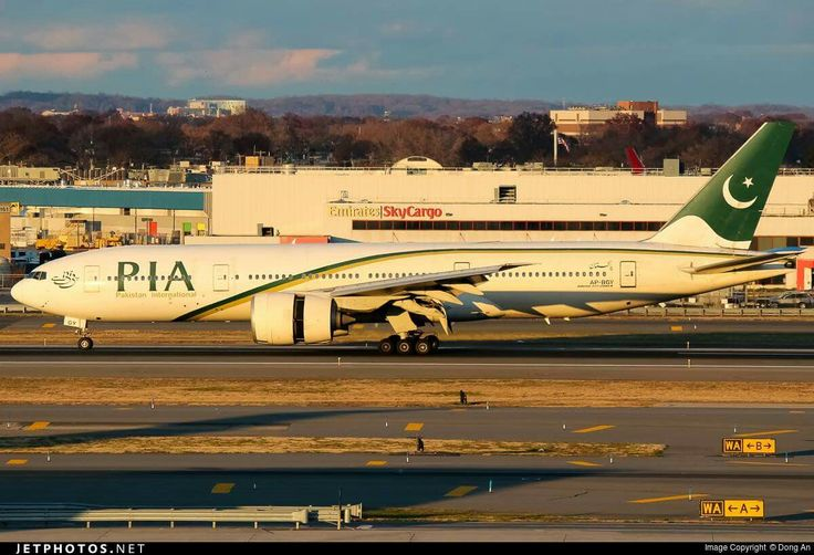 Pakistan International Airlines Boeing 777-240/LR during landing rollout at New York-JFK