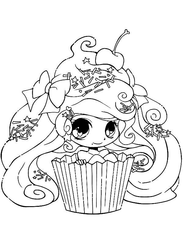kleurplaten voor volwassenen cupcake meisje kleurplaat